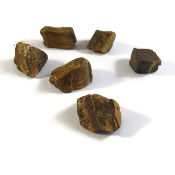 Six Tigers Eye Beads, 6 Natural Gemstone Nuggets, 18x15mm - 24x18mm Tiger's Eye Beads, Jewelry Supplies (L-Ti1)