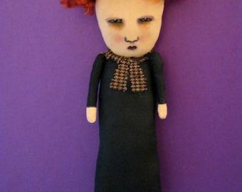 art doll, ooak ,sandy mastroni ,creepy doll, goth grunge, redhead,red head,  black dress, whimsical, wall art doll , shelf art,