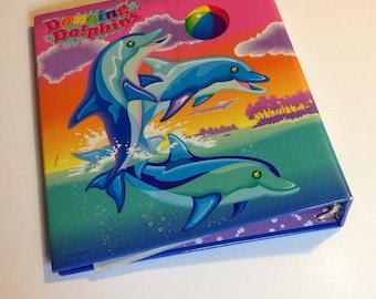 Vintage Lisa Frank My Sticker Collection 3 Ring Binder Dancing Dolphins