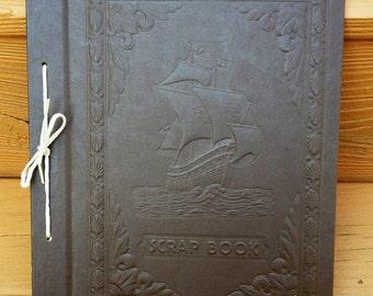 Vintage Scrap Book Embossed Design with Old Ship Harlich Scrap Book Photo Album