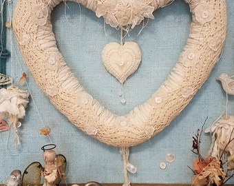 Hold You in My Heart - Abandoned Linen, Button, and Lace Shabby Chic Wedding Heart Wreath