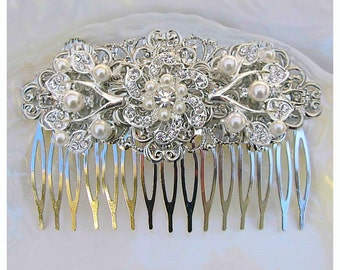 Wedding hair comb, Crystal pearl, Bridal Comb, pearl wedding clip,  Bridal Hair comb, Pearl bridal comb, crystal silver, wedding hair comb