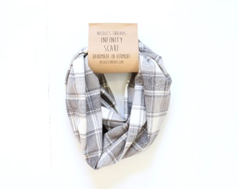 Infinity Scarf - Plaid - Flannel - Oversized - Shades of Grey & Cream - Warm - Winter- Cozy - Unisex - Gray