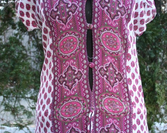 SALE was 15.00 India print shirt smock tunic hippie top small medium