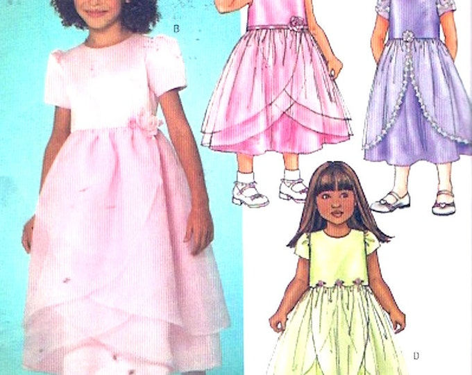 Wedding Flowergirl dress special occasion party outfit Sewing pattern Butterick 4115 Sz 2 to 5 UNCUT