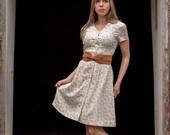 Vintage Cream Light Blue Floral Day Dress (Size Small/Medium)