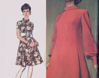 1960s Designer Fashion Dress w/ Rolled Bias Collar Simplicity 8031 Vintage 60s Madmen Sewing Pattern Size 8 Bust 31.5 UNCUT