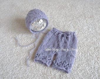 Knit Baby Shorts and Hat, Newborn Hat, Baby Bonnet, Newborn Photo Props