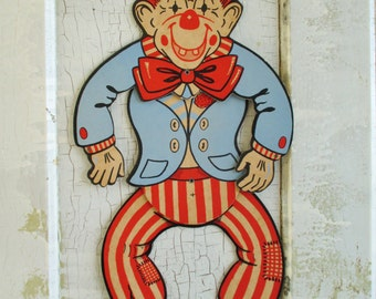 Vintage Hinged Paperboard Clown Figure