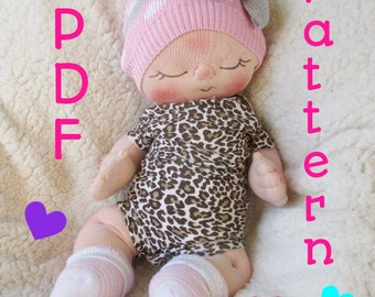 Sewing Doll Patterns Cloth Doll Pattern PDF Pattern- How to Make a Soft Heart BeBe Baby Doll by BeBe Babies and Friends