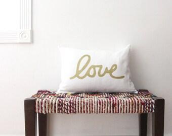 Metallic Love Throw Pillow - Lumbar Love Pillow - Hand Lettered Screenprint - Gold Copper and Silver Pillow