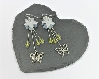 Floral Butterfly Dangle Earrings