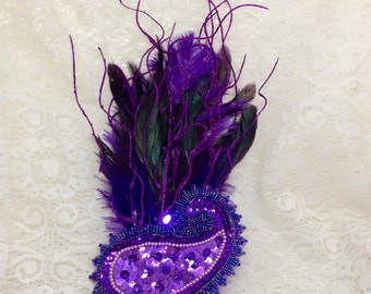 Purple feather fascinator - purple LED light up feather hair clip - purple paisley feather fascinator - light up steampunk hair clip