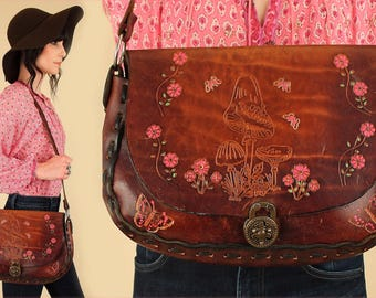 ViNtAgE HUGE Hand Tooled Purse 60's 70's Handbag Mushrooms Floral LEATHER // Hand Painted Pink Flowers Artisan // Braided Strap Hippie BoHo