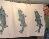 ORIGINAL Large 36 inch Striped Bass GYOTAKU fish rubbing wall art on Muslin Coastal New England Fish Art Beach House Decor
