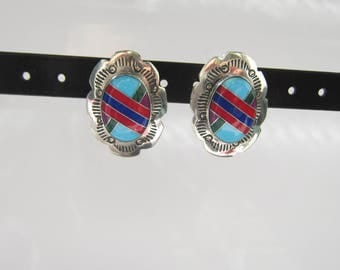 Native American - Southwestern Sterling Silver Stamped Multi Stone Inlay Concho Earrings   1344