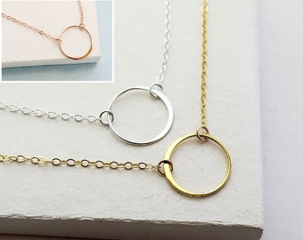 Eternity Circle Necklace | Karma Necklace | Simple Delicate Everday Jewelry | Silver, Rose Gold, Gold