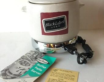 1960s Carling Black Label Beer WEST BEND Buffet Server Crock Pot Eames Era Mid Century Pot Luck