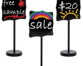 12 Pack CHALKBOARD DISPLAY STANDS Erasable Black Metal Small Freestanding Signs - Free Shipping