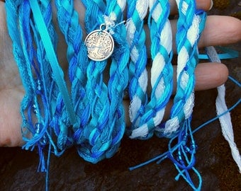 Wedding Handfasting Cord - Fairy Silk Teal Blue White Tree of Life 6 ft