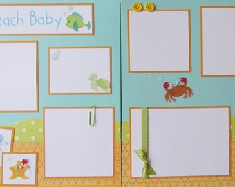 Premade 12x12 Scrapbook Pages -- BEACH BABY -- SuMMeR layout -- trip to the beach, vacation, boy or girl, family, first vacation, first year