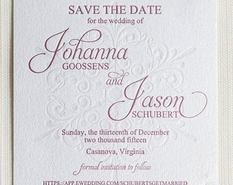 Wedding Stationery -- SAMPLE -- Johanna's Snowflake Save the Date