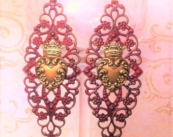 Queen of Hearts  Earrings Crowned Heart Jewelry Burgundy Filigree Lace Romantic Assemblage Vintage Hearts  Jewelry BOHO Style