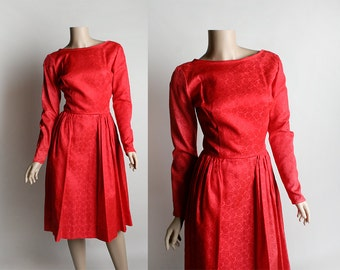 Vintage 1940s Brocade Red Dress - Cocktail Party Wear - Berry Rose Red 1950s Formal Evening Draped Scoop Back Dress - Small