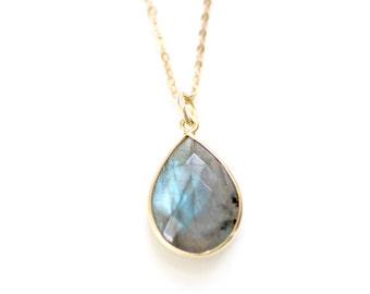 Gold Vermeil Labradorite Teardrop Stone Necklace - Gold Plated or 14k Gold Filled Chain