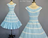 Vintage 50s Fiesta Blue Cotton & Lace Dress S ~ Full Tiered Flounce Skirt