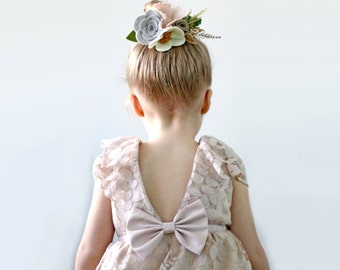 Pale Blush Flower Girl Dress, Lace Flower Girl Dress, Vintage Inspired Flower Girl, Rustic Flower Girl, Toddler Flower Girl, Country Wedding