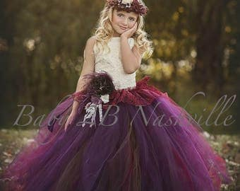 Chocolate Plum Dress Flower Girl Dress Ivory Dress Tulle Dress Lace Dress Wedding Dress Birthday Dress Toddler Tutu Dress Plum Girls Dress