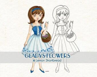 Digital Stamp Basket of Flowers Gladys, Digi Download, Summer Spring, Fashion Floral, Coloring Page, Clip Art, Scrapbooking Supplies