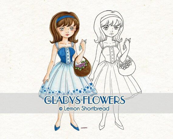 Digital Stamp Basket of Flowers Gladys, Digi Summer Spring, Fashion Floral, Coloring Page, Retro Scrapbooking Supplies, Instant download