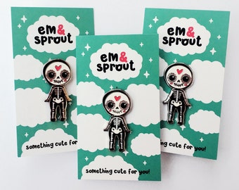 Day of the Dead Kewpie Enamel Pin