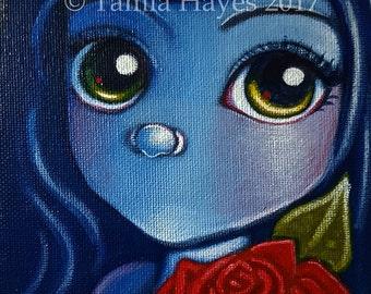 Original Big Eye Art Acrylic Painting Rose Valentine Flower Love Tamia Chicasol