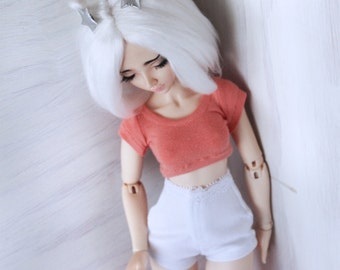 BJD Doll clothes MSD Doll clothes Coral short sleeve Crop Top for Minfee MonstroDesigns Ready to Ship