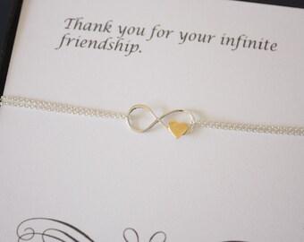 Friendship Infinity Bracelet, Infinity Jewelry, Best friend Gift, Silver Infinity Gift, Silver Bracelet, BFF, Gold Heart