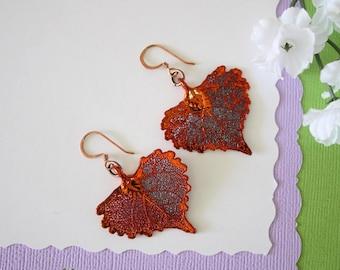 Cottonwood Copper Leaf Earrings, Cottonwood Leaf, Real Leaf Earrings, Nature, Cottonwood Earrings, Copper Earrings, Heart Shape, LESM189