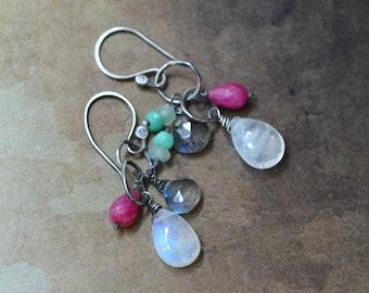 Rainbow Moonstone Earrings - Pink Ruby Earrings - Chrysoprase Earrings - Labradorite Earrings - Oxidized Sterling Silver Link Earrings