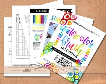 Upper-case Watercolor Brush Lettering worksheets Alphabet + Practice Drills plus Tips - PDF File Only