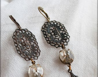Unique Antique Victorian style leverback earrings with vintage clear Czech glass jewels and old brass trellis like filigree