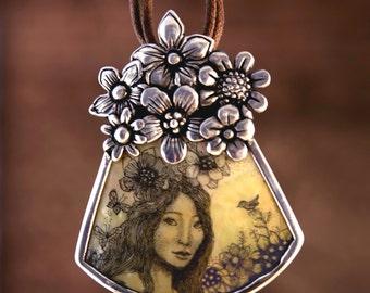 Original Scrimshaw Goddess pendant Moosup Valley designs
