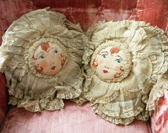 2 Antique Boudoir Pillows with Flapper Bride Faces, Voile Layers, Lace and Embroidery