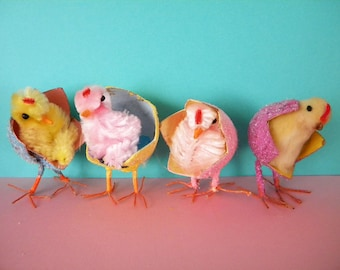 4 Vintage Easter Chicks Hatching from Paper Mache Eggs Chenille and Cotton Batting