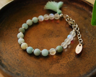 the sea wanderer bracelet /amazonite / mala bracelet / mystic aura quartz/ sea glass / color changing / cosmic / sea