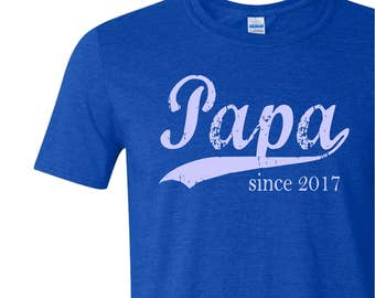 Papa since ANY year - personalized for him - screen print t-shirt - new grandfather gift - Father's Day gift - gift ideas for men