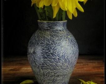 Blue Dahlia Vase
