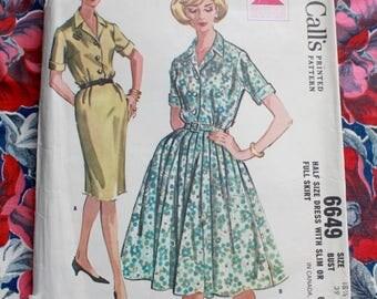 """1960s dress pattern / McCall's 6649 / 60s shirtwaist dress / bust 39"""" waist 33"""""""