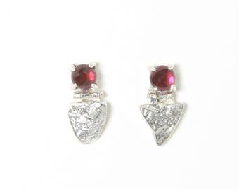 Stone Shield Studs with Garnet | Silver Earrings with Garnet